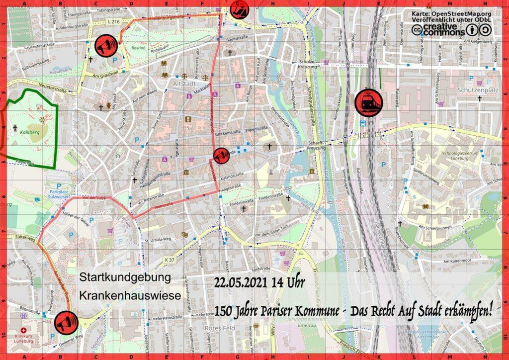 Karte mit dem Demoverlauf